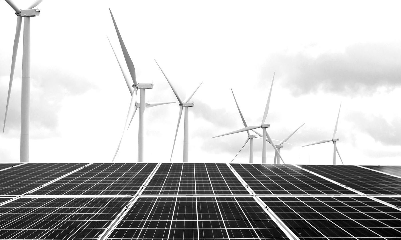 Wind And Solar Power Bw